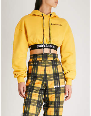 Palm Angels Cropped logo-trim cotton-jersey hoody