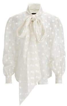 Marc Jacobs Women's Sheer Bow-Tie Blouse - Ivory - Size 8