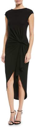 Michael Kors Twisted Cap-Sleeve Jersey Midi Dress