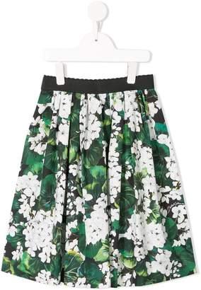 Dolce & Gabbana white geranium printed pleated skirt