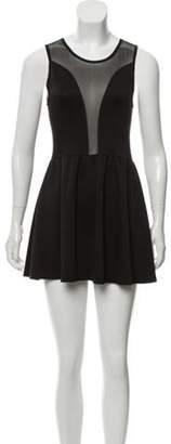 For Love & Lemons Sleeveless Mesh-Trimmed Dress Black Sleeveless Mesh-Trimmed Dress