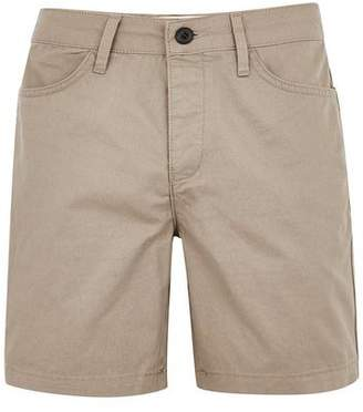 Topman Mens Brown Taupe 5 Pocket Slim Shorts