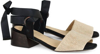 Mari Giudicelli Natural Raffia Canna Lace-Up Sandals