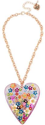 Betsey Johnson Mixed Flower Heart Pendant Necklace