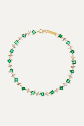 Suzanne Kalan 18-karat Gold, Diamond And Emerald Bracelet