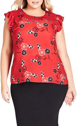 City Chic Floral Smock Detail Blouse