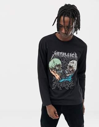 Asos DESIGN Metallica skull relaxed long sleeve t-shirt
