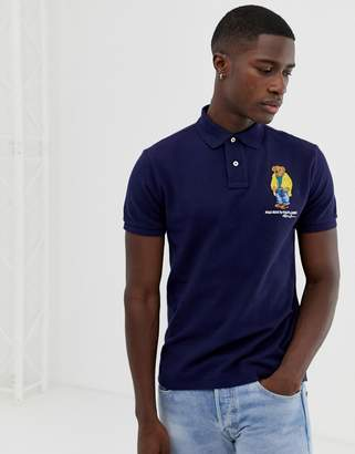 Polo Ralph Lauren custom regular fit pique polo with embroidered bear in navy