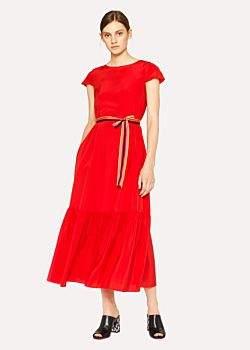 Paul Smith Women's Red Midi Dress With Pleated Hem