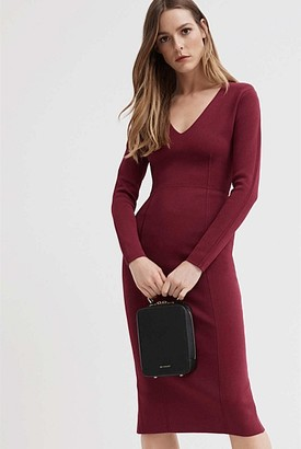 Witchery Milano V Neck Long Sleeve Dress