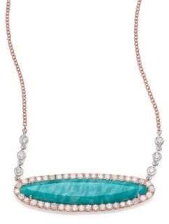 Meira T Blue Amazonite, Diamond & 14K Rose Gold Pendant Necklace