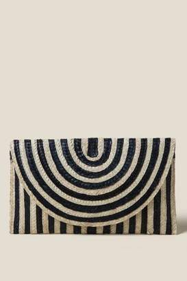 francesca's Aga Striped Clutch - Black/White