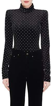 Saint Laurent Women's Embellished Velvet Bodysuit