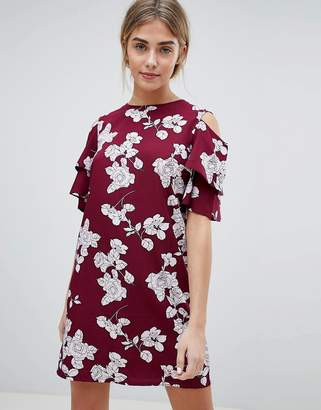 Daisy Street Floral Shift Dress with Cold Shoulder