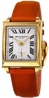 Bruno Magli 27mm Valentina Rectangular Watch, Orange/Gold