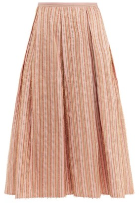 Thierry Colson Odette Striped Midi Skirt - Womens - Pink