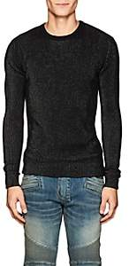 Balmain Men's Metallic Rib-Knit Sweater-Black