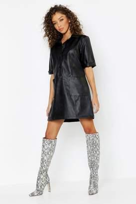 boohoo Faux Leather Pocket Shirt Dress
