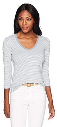 Three Dots Women's Montauk Stripe 3/4 SLV Short Tight v-Neck Shirt