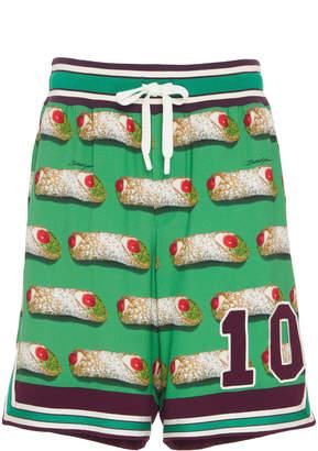 Dolce & Gabbana Canoli-Print Jersey Shorts