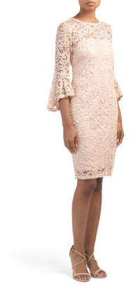 Petite Bell Sleeve Sequin Lace Dress