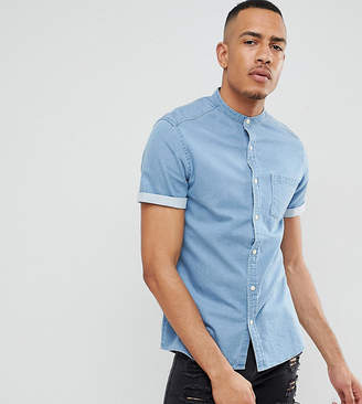 Asos Design DESIGN tall stretch slim denim shirt in light wash with grandad collae