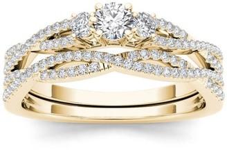 Imperial Diamond Imperial 1/2 Carat T.W. Diamond Criss-Cross Shank Three-Stone 14kt Yellow Gold Engagement Ring Set