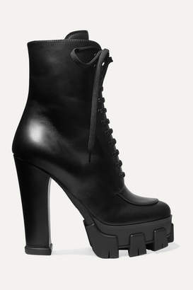 Prada 130 Leather Ankle Boots - Black
