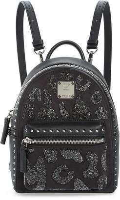 MCM X Mini Stark Crystal Glitter Coated Canvas Backpack