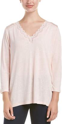 NYDJ Linen-Blend Lace Trim Knit Top