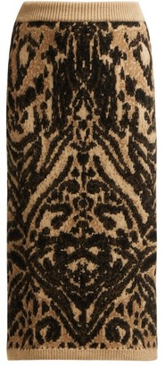 Raey Tiger Knitted Pencil Skirt - Womens - Brown Multi