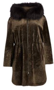 The Fur Salon Shearling Lamb& Fox Fur Coat