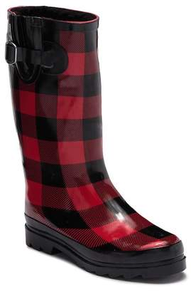 Northside Lexi Plaid Faux Fur Lined Rain Boot