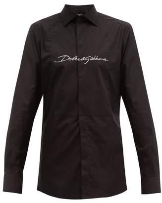 Dolce & Gabbana Cursive Logo Embroidered Cotton Tuxedo Shirt - Mens - Black