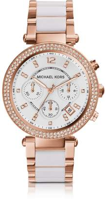 Michael Kors Parker Stainless Steel and White Acetate Women's Watch
