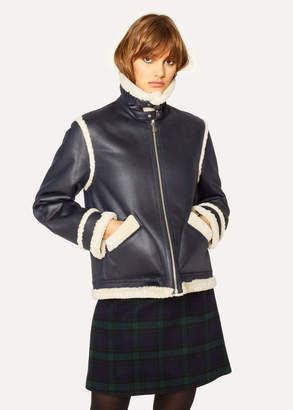 Paul Smith Women's Navy Faux Shearling Aviator Jacket With Contrast Trims
