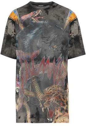 Balmain Distressed Printed Cotton-Jersey T-Shirt