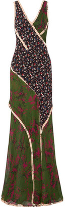 Jason Wu - Paneled Printed Silk-georgette Gown - Green $2,995 thestylecure.com