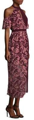 Three floor Women's Tokyo Embroidered Lace Shift Dress - Tawny Port - Size 2