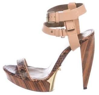 Lanvin Leather Peep-Toe Sandals