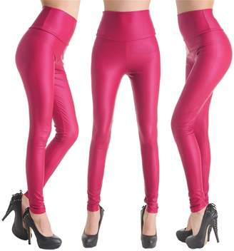 Celine lin Women's PU Leather High Waist Leggings Stretch Pants,Rose red XS