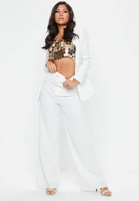 Premium Crepe Wide Leg Pants White $57 thestylecure.com
