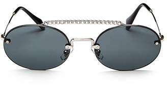 Miu Miu Women's Crystal Brow Bar Round Sunglasses, 54mm