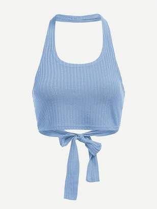 Shein Plus Halter Knot Ribbed Top