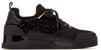 Christian Louboutin Aurelien Glittered Velvet And Suede Trainers - Mens - Black