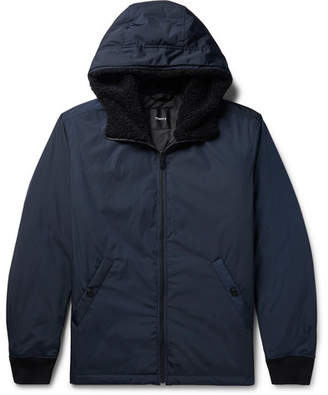 Theory Vernon Faux Shearling-Trimmed Shell Hooded Down Jacket - Men - Navy
