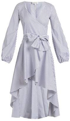 Caroline Constas Lena Asymmetric Hem Cotton Wrap Dress - Womens - Blue Stripe