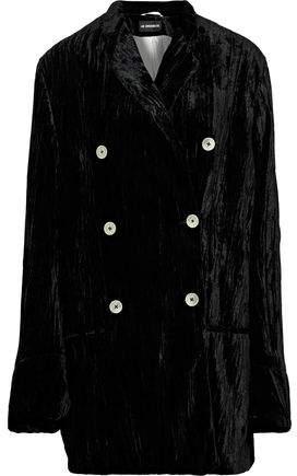 Double-Breasted Oversized Crinkled-Velvet Jacket