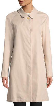 Burberry Camden Water-Resistant Car Coat w/ Check Lining