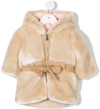 Chloé Kids belted hooded faux fur coat